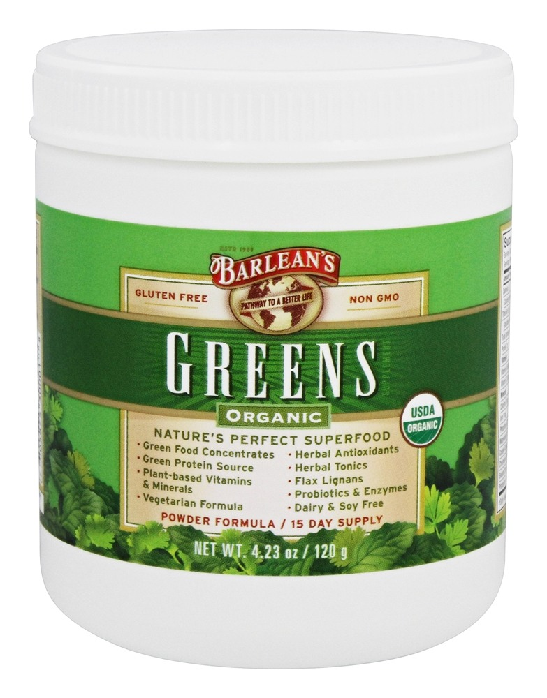 Barlean's - Organic Greens Powder Formula - 4.23 oz.