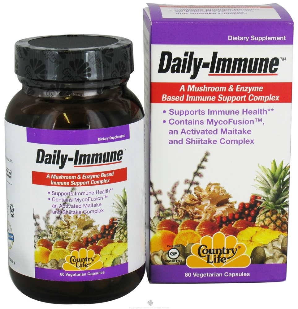 Country Life - Daily Immune Mushroom & Enzyme Based Immune Support Complex - 60 Vegetarian Capsules