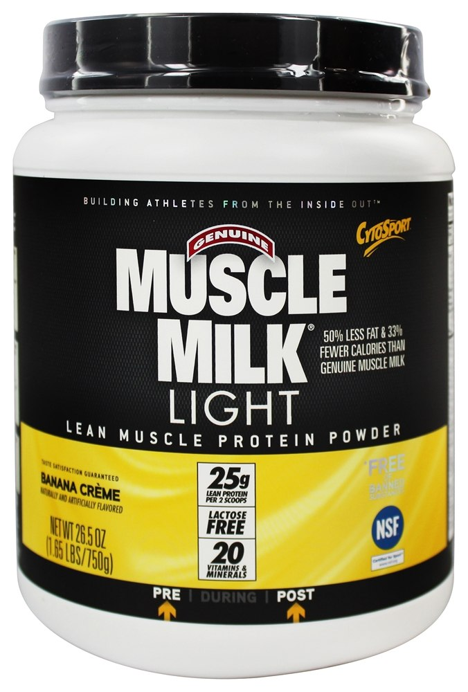 Cytosport - Muscle Milk Genuine Light Lower Calorie Lean Muscle Protein Banana Creme - 26.4 oz.