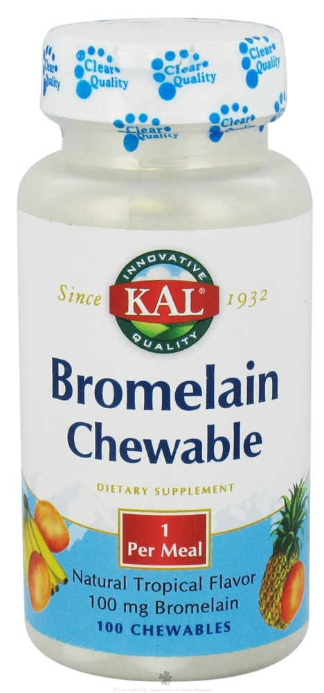Kal - Bromelain Chewable Natural Tropical Flavor 100 mg. - 100 Chewable Tablets