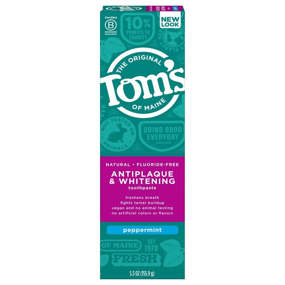 Tom's of Maine - Natural Toothpaste Antiplaque & Whitening Fluoride-Free Peppermint - 5.5 oz.