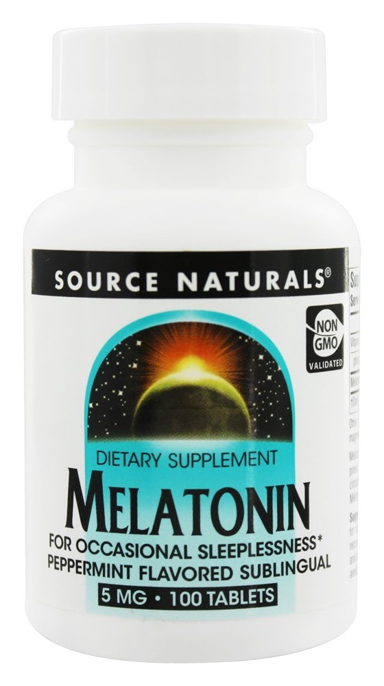 Source Naturals - Melatonin Sublingual Peppermint 5 mg. - 100 Tablets