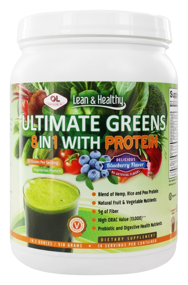 Olympian Labs - Ultimate Greens Protein 8 in 1 with Hemp Protein Vanilla-Banana-Berry - 19 oz.