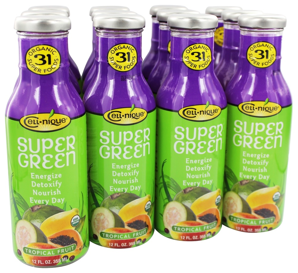 Cell Nique - Super Green Drink Tropical Fruits - 12 oz.