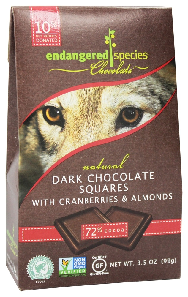 Endangered Species - Dark Chocolate Bite Size Bars w/ Cranberries & Almonds 72% Cocoa - 10 Piece(s)