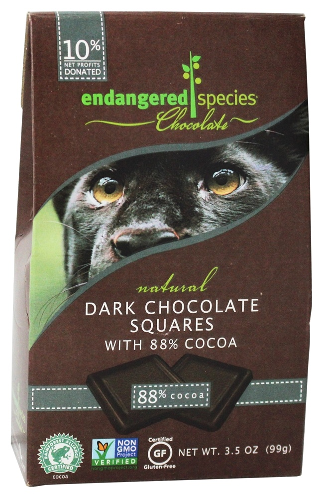 Endangered Species - Extreme Dark Chocolate Bite Size Bars 88% Cocoa - 10 Piece(s)