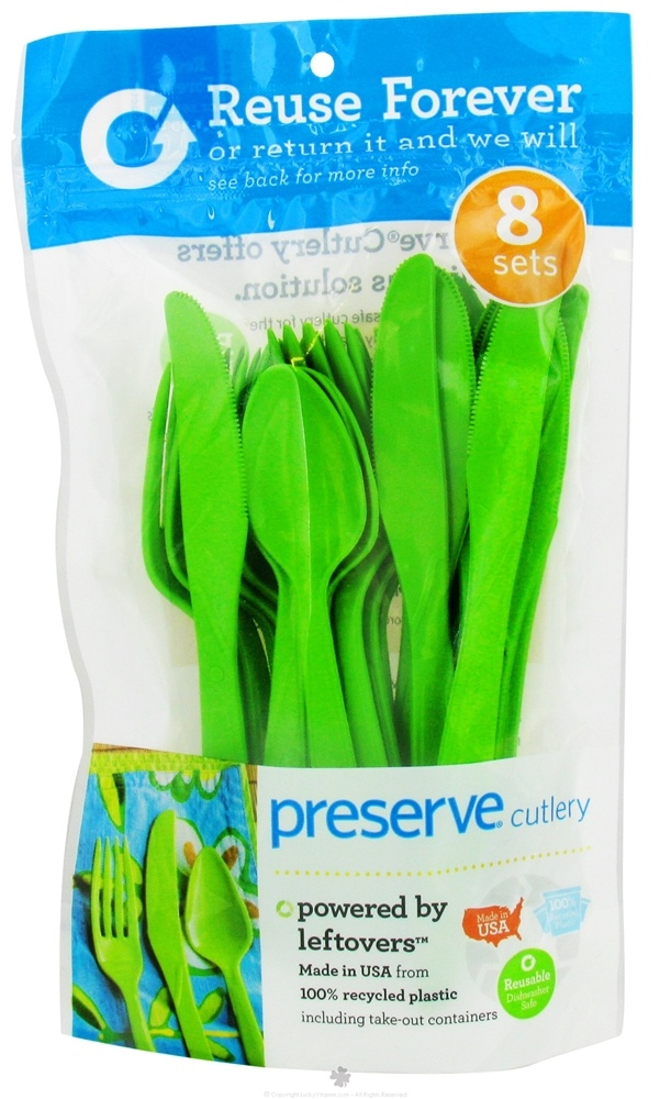 Preserve - Reusable Recycled Plastic Cutlery Apple Green - 24 Piece(s)