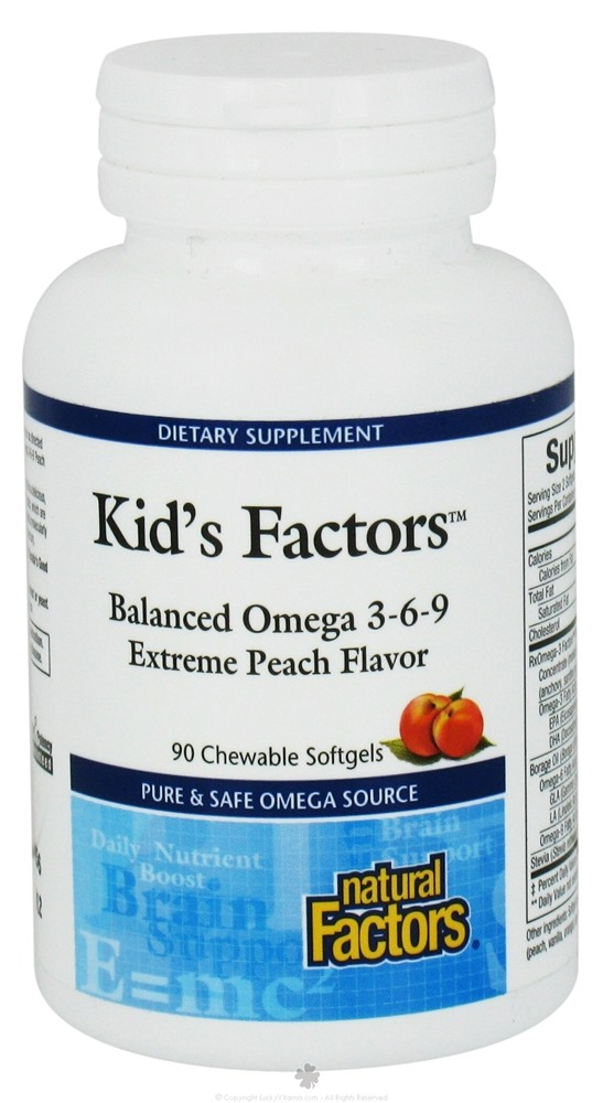 Natural Factors - Kid's Factors Balanced Omega 3-6-9 - 90 Chewable Softgels Formerly Learning Factors