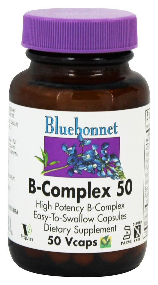 Bluebonnet Nutrition - B-Complex 50 High Potency - 50 Vegetarian Capsules