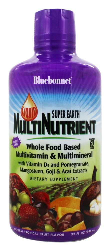 Bluebonnet Nutrition - Liquid Super Earth Multinutrient Formula No Iron Added Natural Tropical Fruit Flavor - 32 oz.