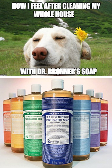 Dr-Bronners-Liquid-Soap-Meme-Dog-Smiling-in-Field-with-Flowers-How-I-Feel-After-Cleaning-My-House-With-Dr-Bronners-Soap